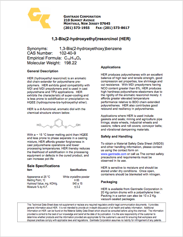 HER TDS | Gantrade | Hydroxyethyl Ether of Resorcinol