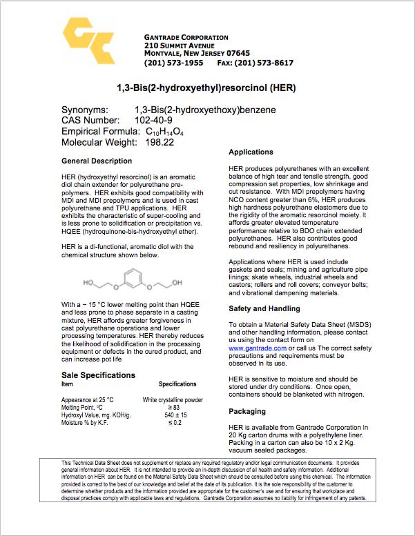 HER TDS   Gantrade   Hydroxyethyl Ether of Resorcinol