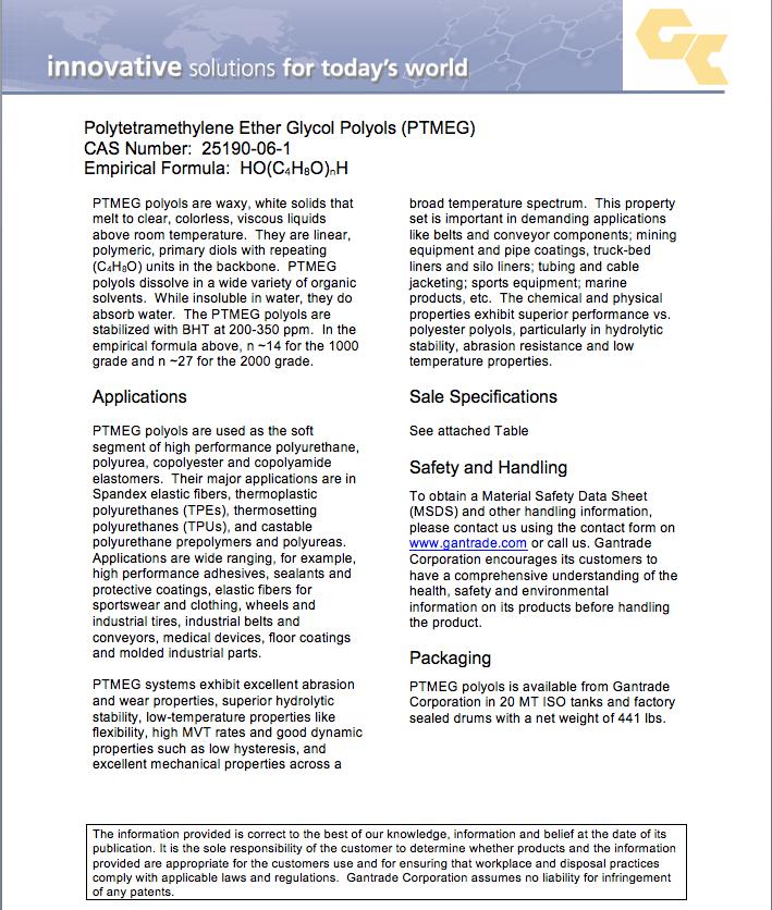 PTMEG | Polytetramethylene Ether Glycol | Gantrade
