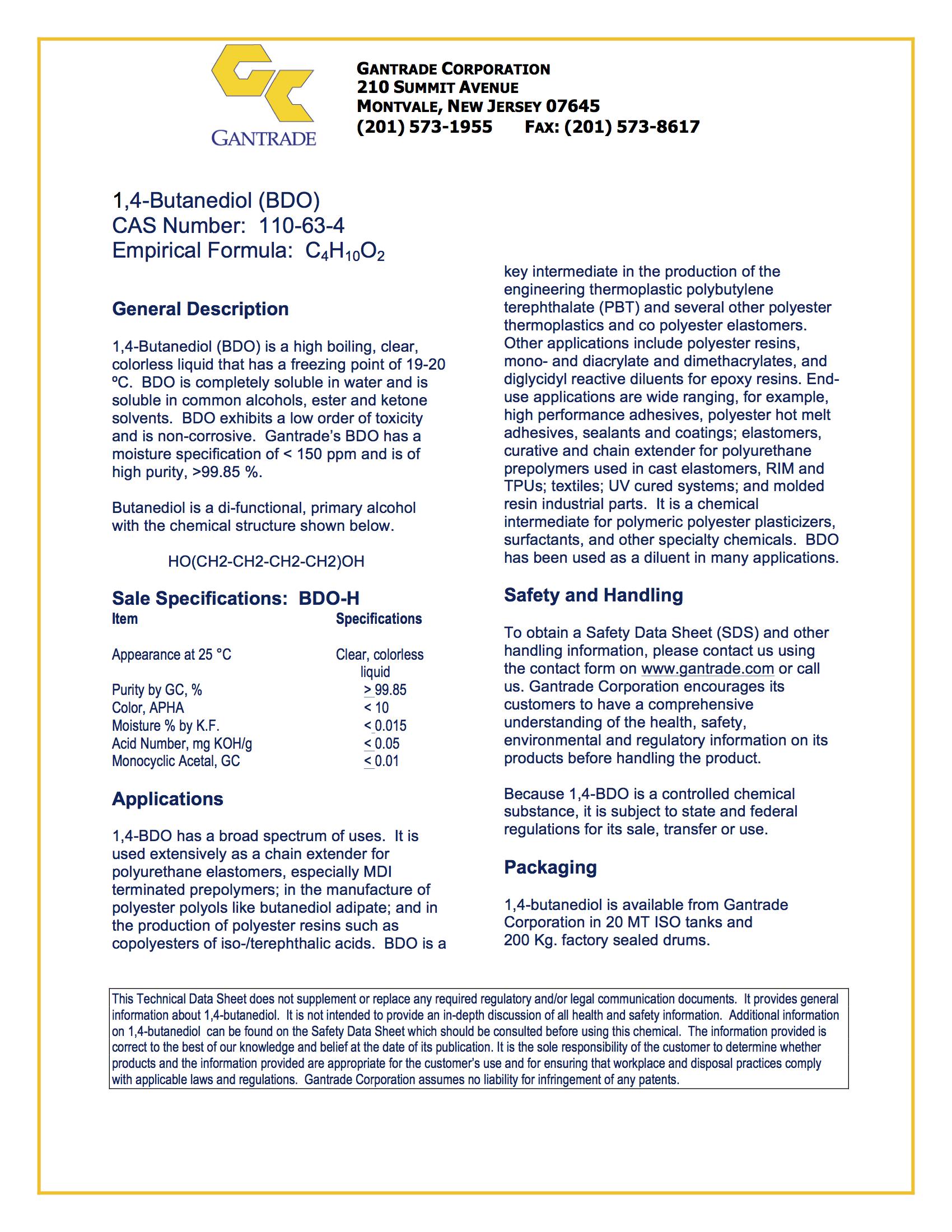 1 4 butanediol | BDO | Gantrade
