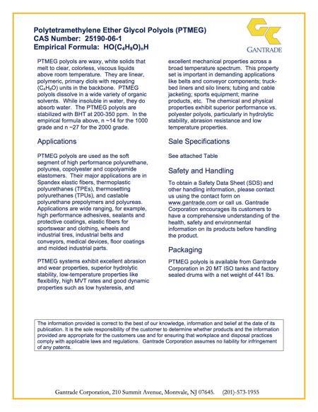 PTMEG Technical Data Sheet | Gantrade